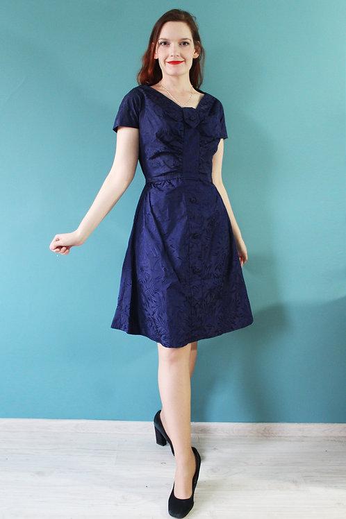 Lata pięćdziesiąte - granatowa sukienka lekki klosz z guziczkami tafta