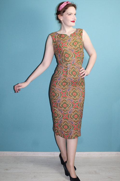 Lata pięćdziesiąte/sześćdziesiąte - bawełniana sukienka deadstock w paisley