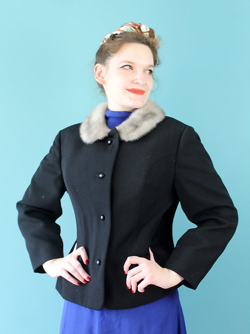 Lata sześćdziesiąte - żakiet kurtka 100% wełna czarny z futrzanym kołnierzem