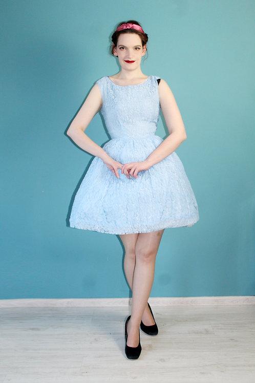 Lata pięćdziesiąte/sześćdziesiąte - błękitna koronkowa sukienka metalowy zamek