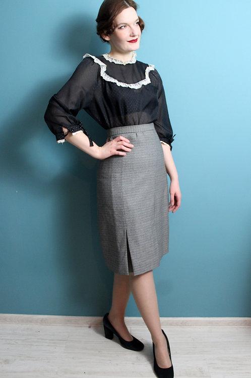 Lata sześćdziesiąte - wełniana spódnica midi w pepitkę