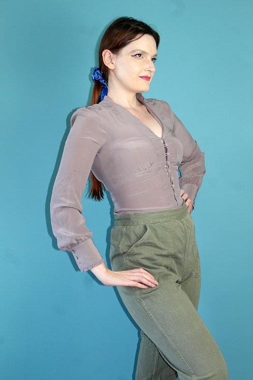 Modern retro jak lata siedemdziesiąte 100% jedwab gołębia bluzka