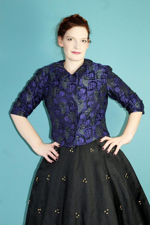 Lata pięćdziesiąte żakardowy żakiet bawełniany fioletowy