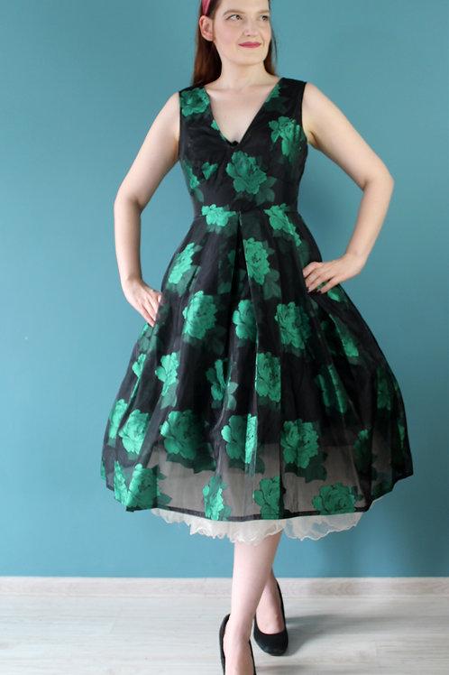 Jak lata pięćdziesiąte zielono-czarna rozkloszowana sukienka NOWA Z METKAMI