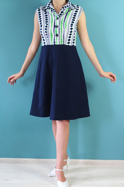 Lata sześćdziesiąte - granatowa midi sportowa mod dress