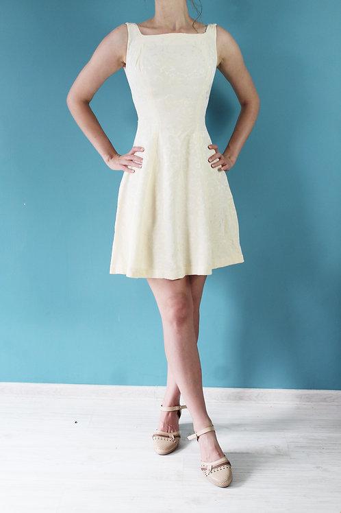 Lata pięćdziesiąte/sześćdziesiąte - żakardowa dzwonkowata sukienka słoneczna