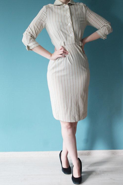 Lata czterdzieste/pięćdziesiąte - ołówkowa wełniana sukienka midi paski beżowa