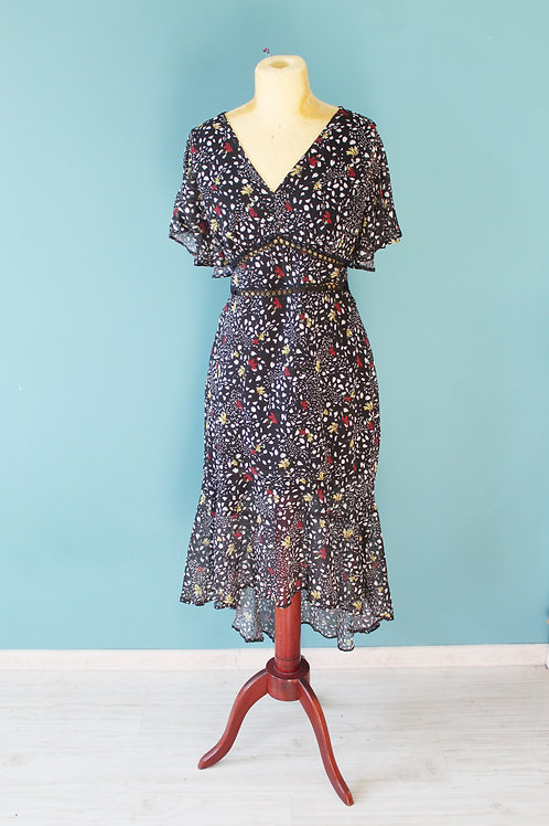 Sukienka kwiecista współczesna a la lata trzydzieste nowa z metką