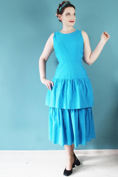 Lata osiemdziesiąte jak pięćdziesiąte turkusowa bawełniana wieczorowa sukienka