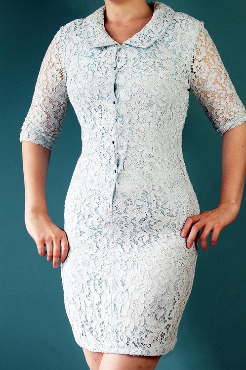 Lata sześćdziesiąte koronkowa błękitna elegancka sukienka
