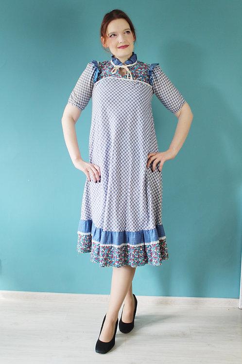 Lata sidemdziesiąte bawełniana sukienka cottagecore