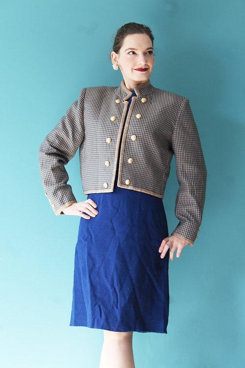 Lata sześćdziesiąte/siedemdziesiąte wełniany żakiet handmade złote guziki