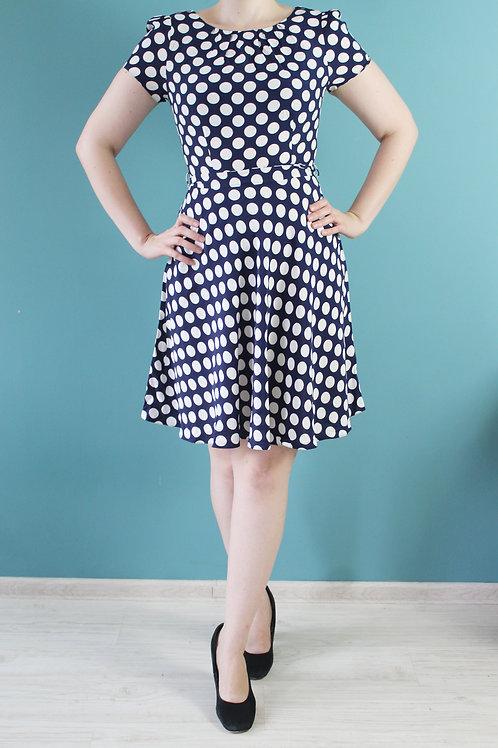 Modern retro - granatowa sukienka 100% wiskoza w grochy