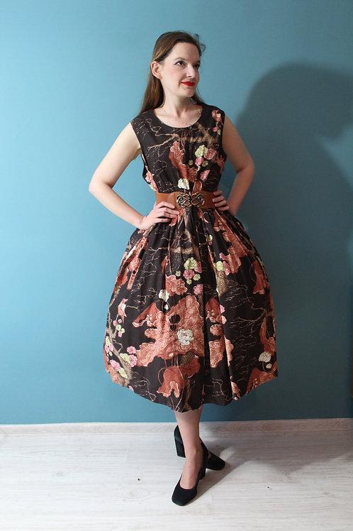 Lata pięćdziesiąte/sześćdziesiąte - bawełniana rozkloszowan sukienka w liś