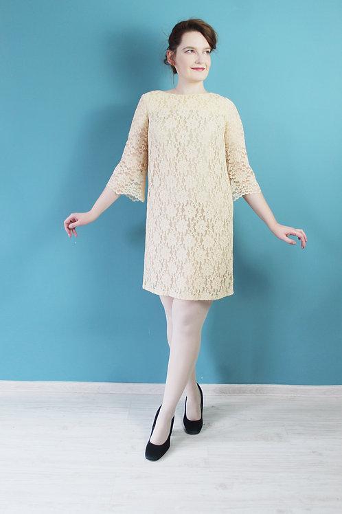 Lata sześćdziesiąte - sukienka koronkowa mod dress kremowa