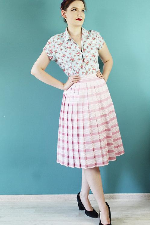 Lata siedemdziesiąte - spódnica pasiasta midi różowa