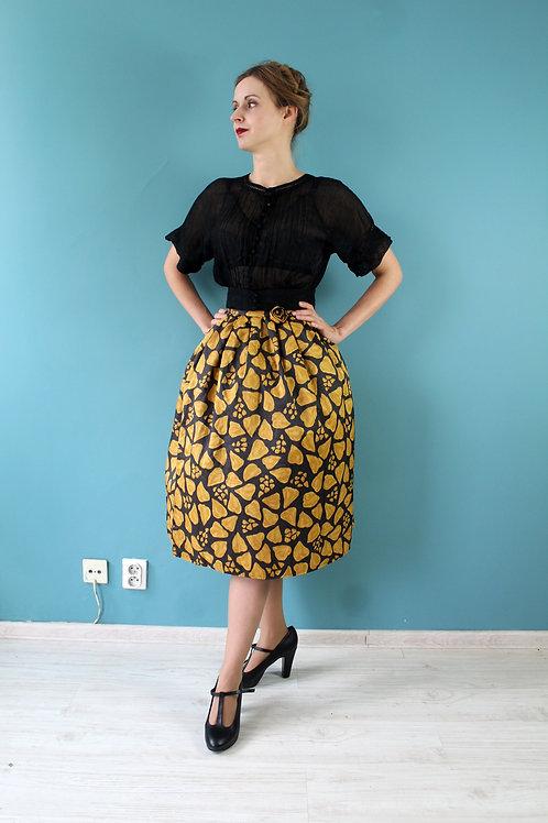 Lata pięćdziesiąte/sześćdziesiąte - szara spódnica w żółte ciapki