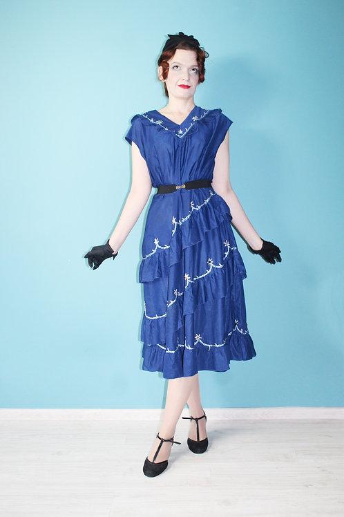 Lata sześćdziesiąte/siedemdziesiąte - acetatowo-bistorowa falbaniasta sukienka
