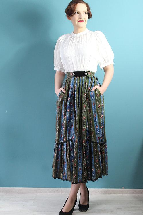 Lata siedemdziesiąte sukienka bawełniana midi w barokowe malowane wzory