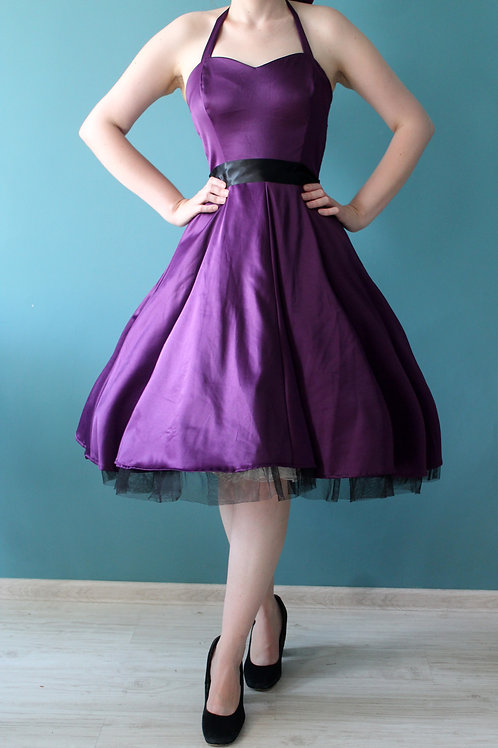 Hearts and Roses - fioletowa rozkloszowana sukienka pin-up jak lata 1950te