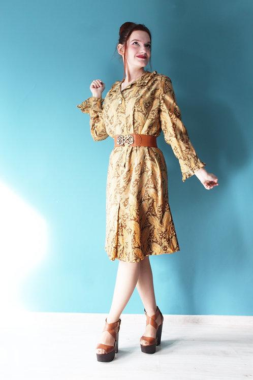Lata sześćdziesiąte - Sukienka midi w paisley bawełniana beżowa