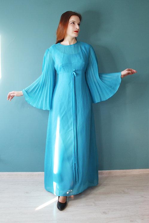 Lata siedemdziesiąte - sukienka maxi turkusowa hippisowska