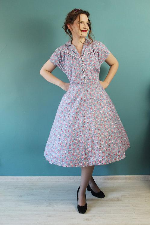 Lata pięćdziesiąte - sukienka w kwiaty bawełniana plus size