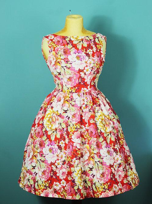 Lindy Bop - rozkloszowana sukienka pin-up kwiaty jak lata 1950te