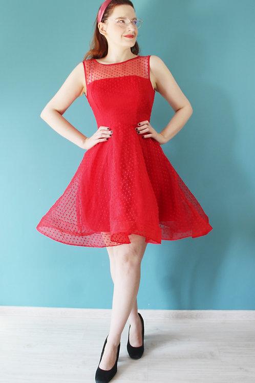 Sukienka czerwona dwuwarstwowa pin-up jak lata pięćdziesiąte