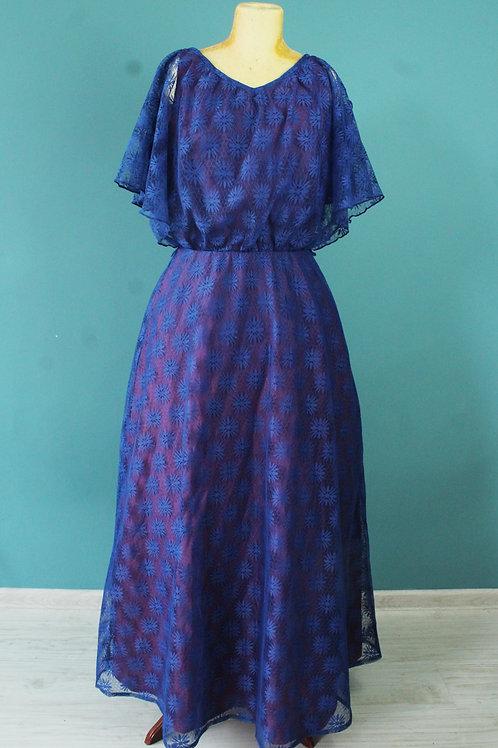 Lata siedemdziesiąte - koronkowa poliestrowa sukienka maxi
