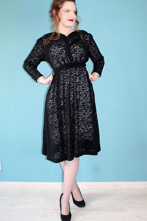 Lata trzydzieste/czterdzieste - koronkowa sukienka wiskozowa midi sheer