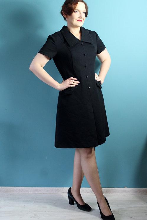 Lata sześćdziesiąte - czarna sukienka z guziczkami mod dress