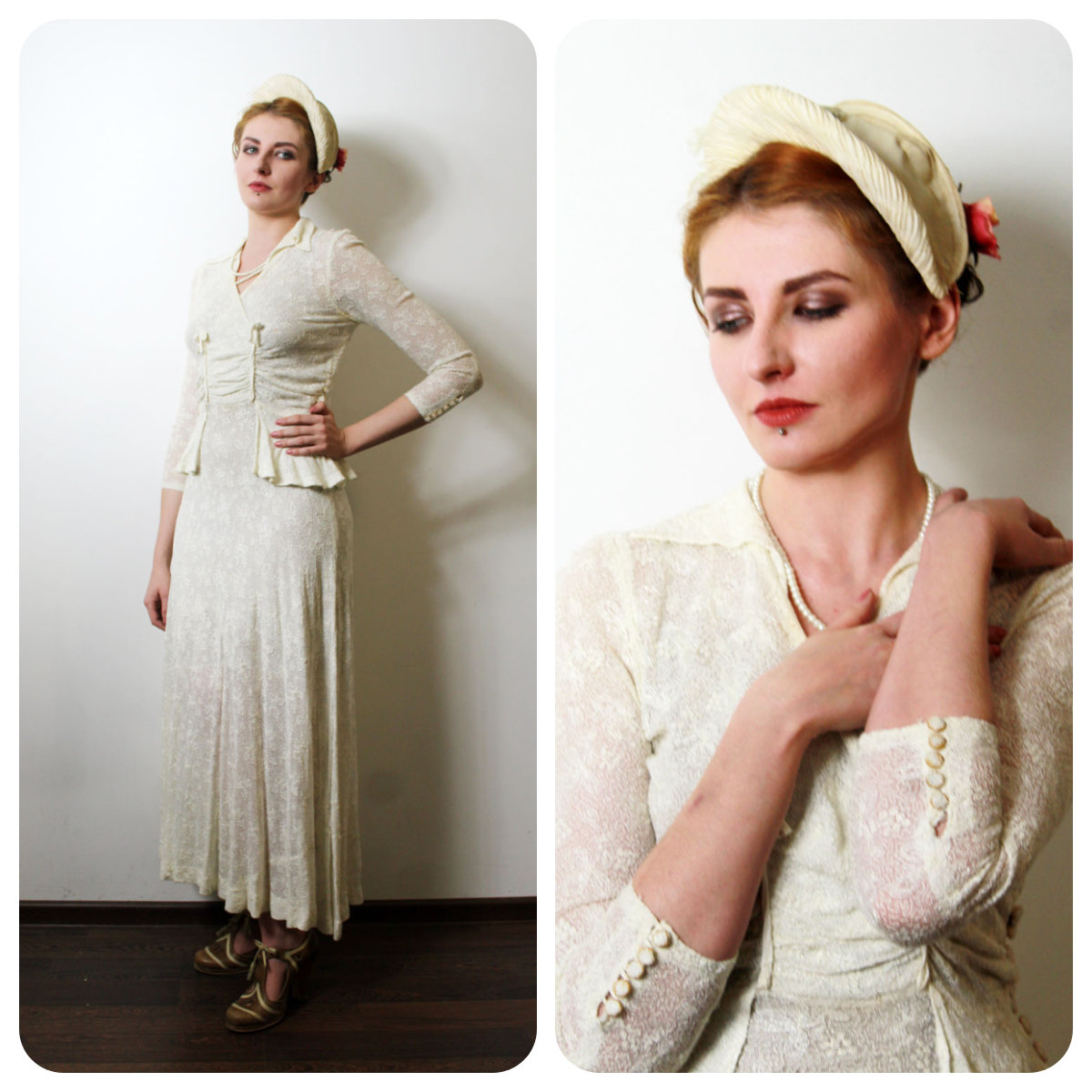 Koronkowa suknia ślubna - przełom lat t