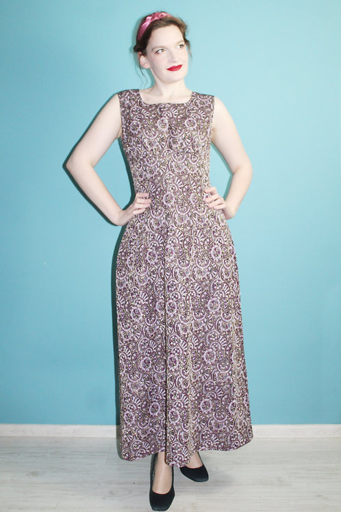 Lata sześćdziesiąte - maxi sukienka w funky wzory brokat czarna