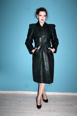 Lata czterdzieste - damski płaszcz skórzany ciemna zieleń