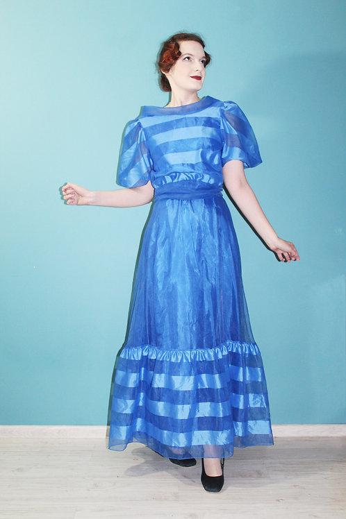Lata siedemdziesiąte deadstock - szyfonowa suknia z bufkami w szerokie pasy