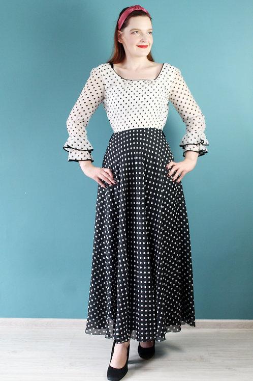 Lata siedemdziesiąte maxi sukienka w groszki hippisowska