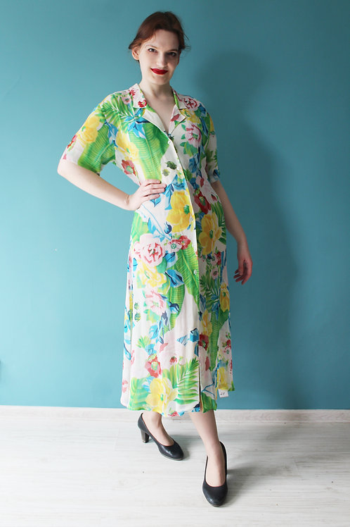 Lata dziewięćdziesiąte - deadstock sukienka midi w kwiaty 100% wiskoza