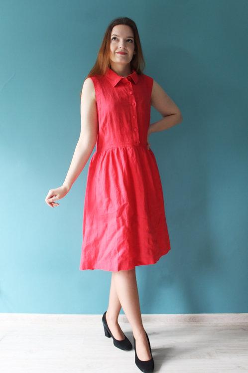 Jak lata pięćdziesiąte - lniana malinowa rozkloszowana sukienka