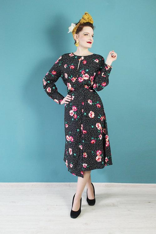 Nowa z metkami - jak lata siedemdziesiąte sukienka midi bufiaste rękawy kwiaty
