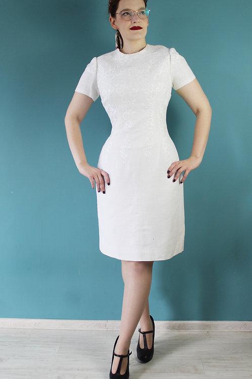 Lata pięćdziesiąte/sześćdziesiąte - lniana haftowana sukienka Tava Modell