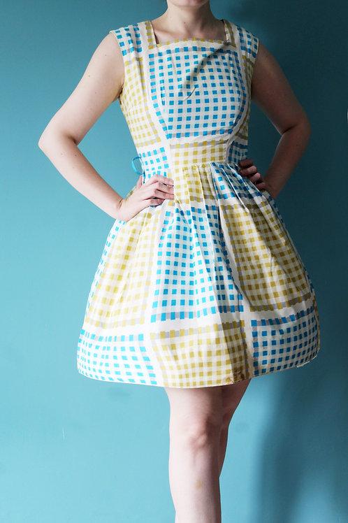 Lata pięćdziesiąte/sześćdziesiąte - bawełniana kraciasta sukienka letnia