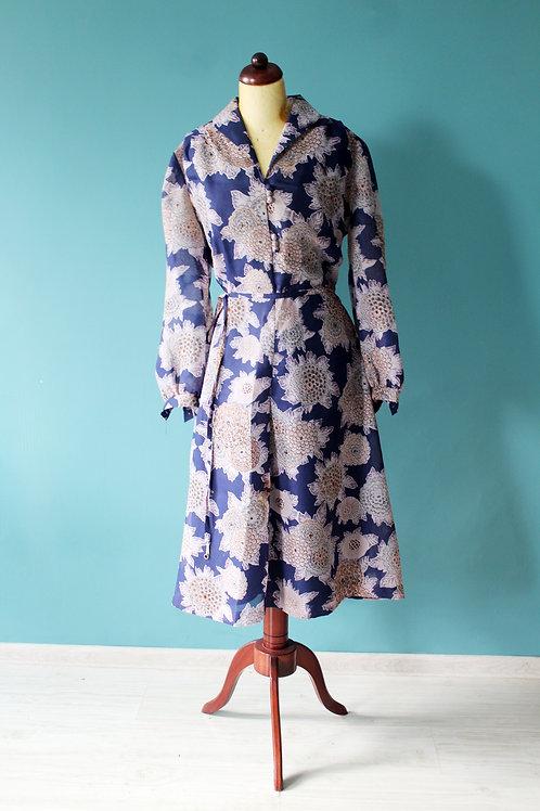 Lata siedemdziesiąte Gregor Mai sukienka z paskiem w chryzantemy