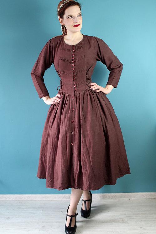 Lata dziewięćdziesiąte - 100% wiskoza cottagecore sukienka brązowa folk