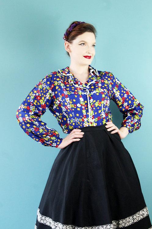 Lata siedemdziesiąte - koszula wiskozowa kwiaty hippisowska