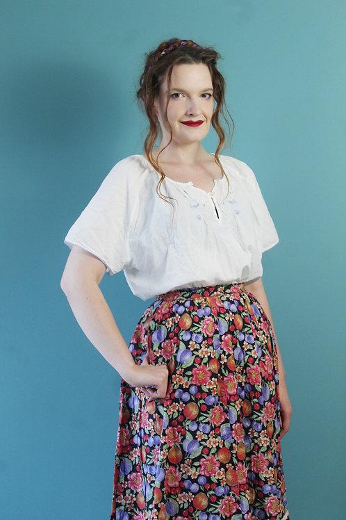 Lata siedemdziesiąte/osiemdziesiąte - haftowana letnia bawełniana bluzka