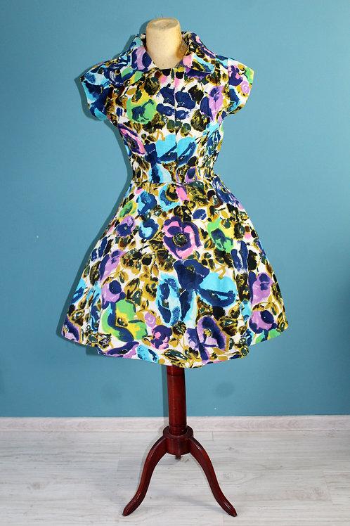 Lata pięćdziesiąte/sześćdziesiąte - bawełniana barwna kwiecista sukienka klosz
