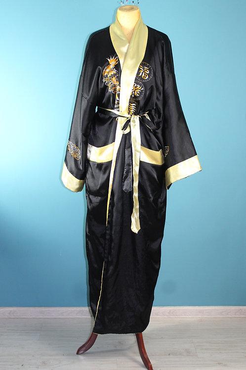Orientalny szlafrok z deseniem smoka jak lata czterdzieste hafty