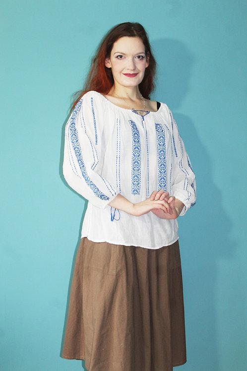 Lata trzydzieste - bawełniana bluzka bułgarska z długim rękawem