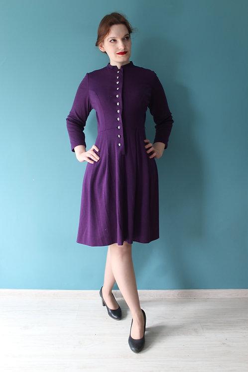Lata pięćdziesiąte/sześćdziesiąte - fioletowa sukienka z jerseyu bawełnianego